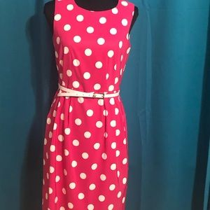 Dress barn, pink with white polka dots,